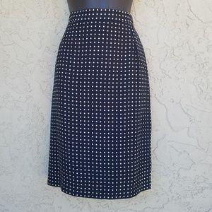 Ann Taylor Black Triangle Polka Dot Pencil Skirt